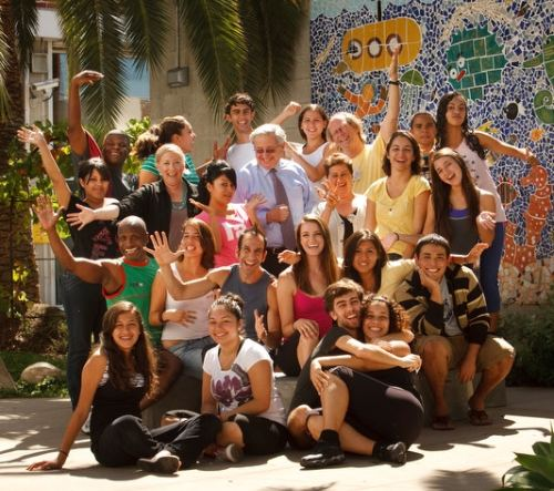 CAP students with CalArts President Steven Lavine / Photo by Scott Groller
