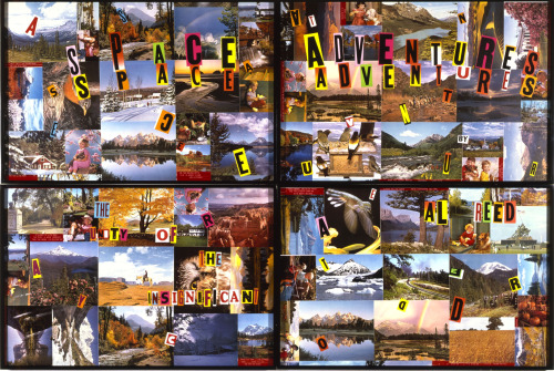 Allen Ruppersberg Cover Art (Space Adventures), 1985 Mixed media collage 4 panels; 40 x 60 inches each Courtesy of the artist and Margo Leavin Gallery, Los Angeles, and Santa Monica Museum of Art   Photo by Bruce Morr