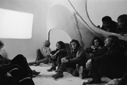 'Friends' gather inside the House of Dust for a screening, c. 1971