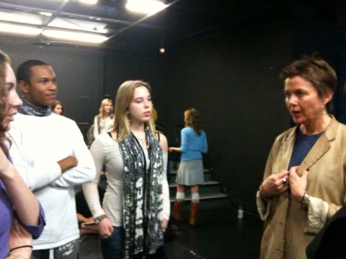 Annette Bening stayed to chat with students after her lecture.