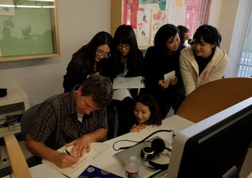 Visiting artist Danny Yount with CalArts January Institute students.