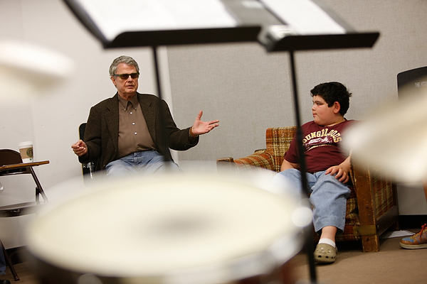 Charlie Haden works with CAP students at CalArts.