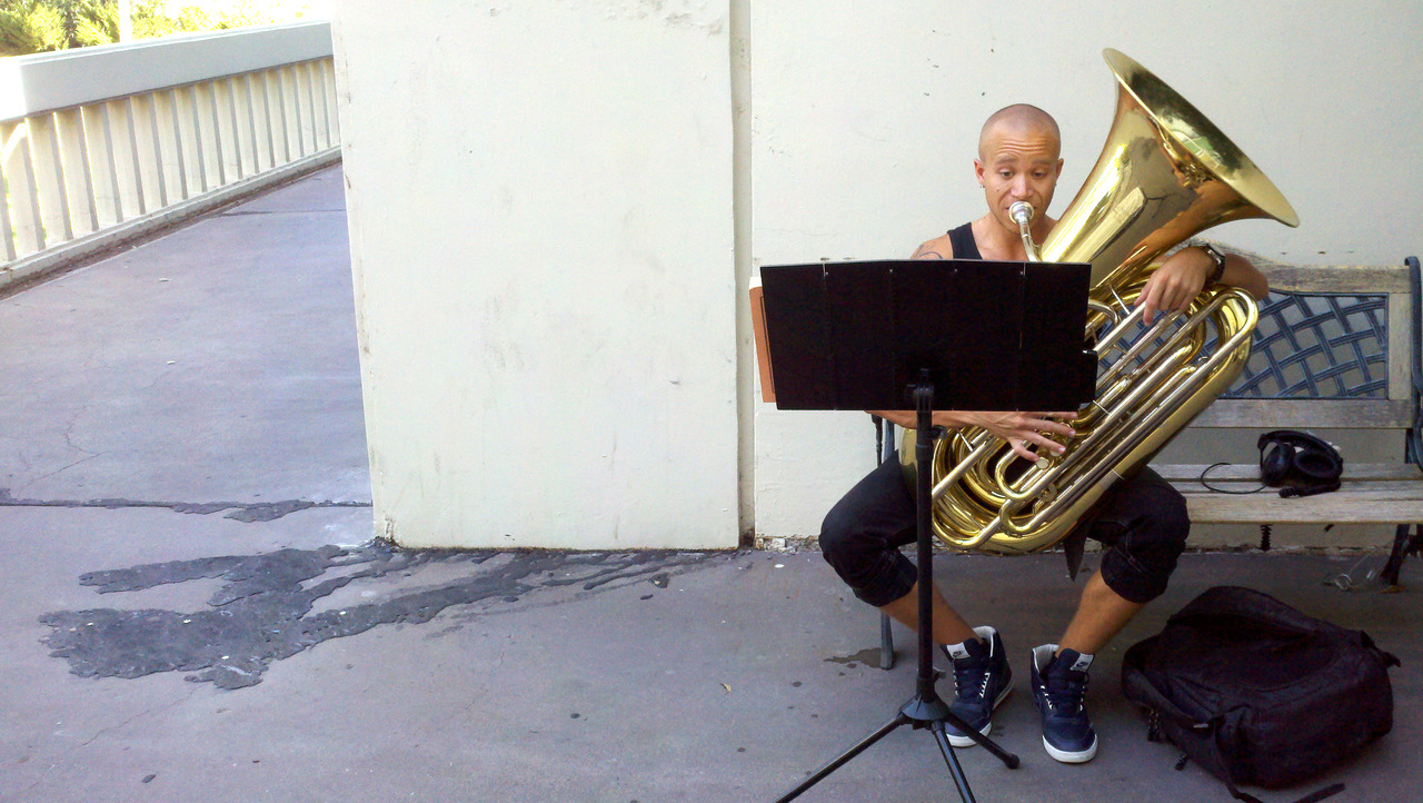 Devon Taylor (Music BFA 14) practices tuba on a hot October day last fall at CalArts.
