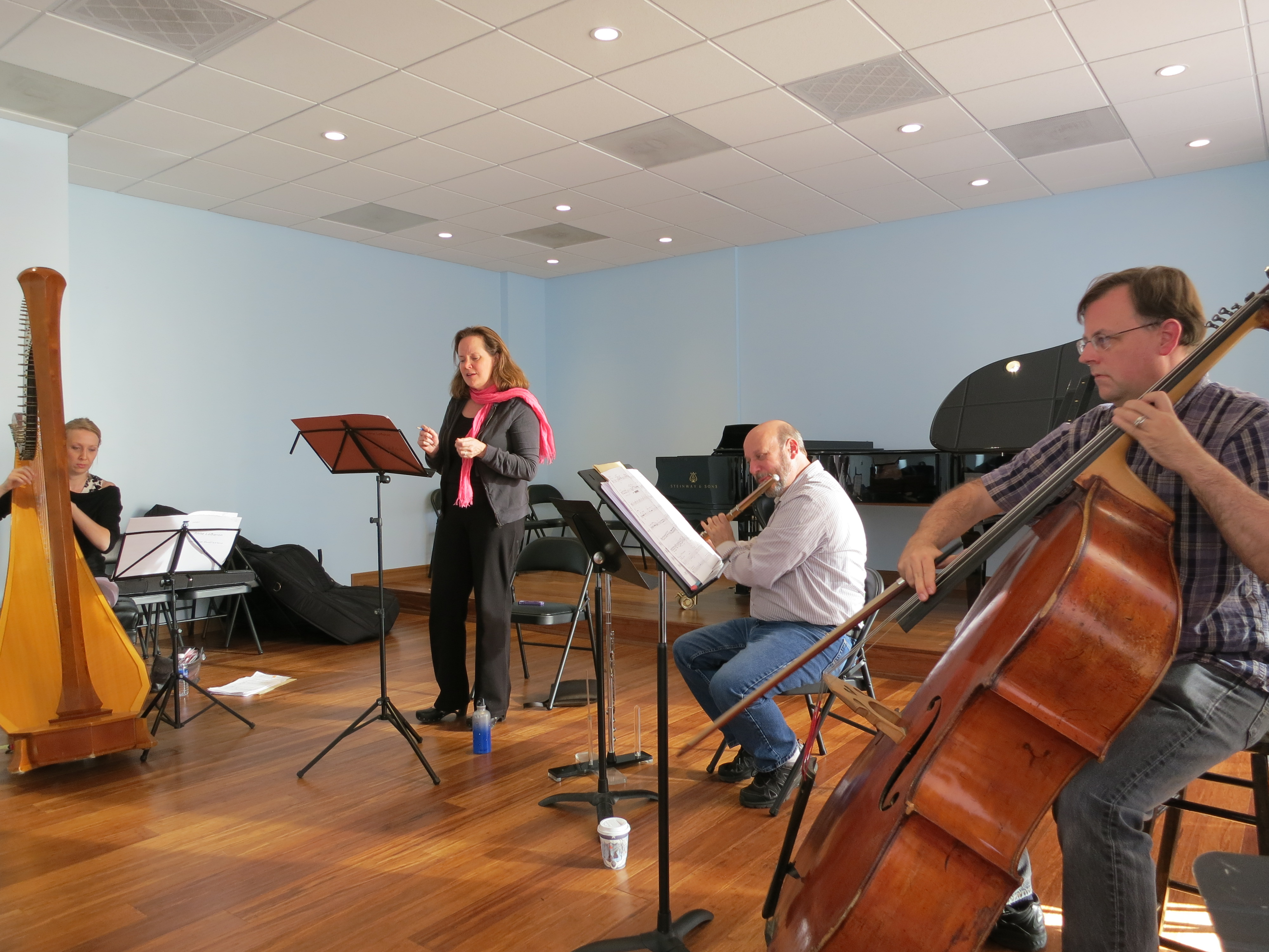Alison Bjorkedal (harp), Elissa Johnston (soprano), Larry Kaplan (flute) and Tom Peters (bass) rehearse for Some Things Should Not Move.