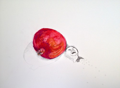 Nicola Voss. 'Grieving Mother with Pomegranate.' 2013. Pencil, Ink, and Watercolor on Watercolor Paper 12″ x 18″.
