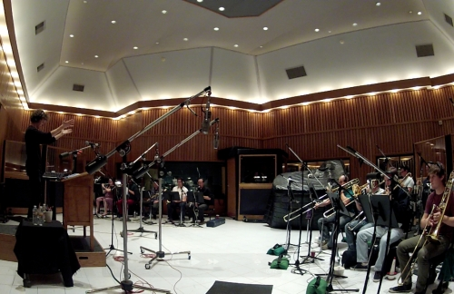 The CalArts Big Band records in Studio A at Capitol Records last spring.