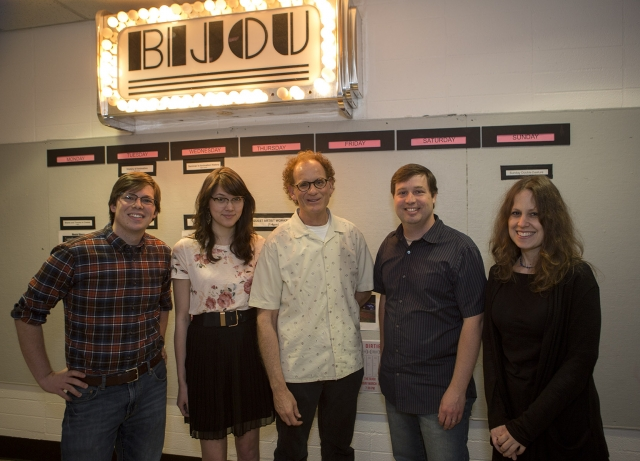 After his talk at CalArts, Joe Lanzisero (center) stands with character animation students Seth Boyden and Hallie Wilson, fellow Imagineer Jim Clark (Writing MFA 00), and Character Animation faculty member and Associate Program Director Maija Burnett.