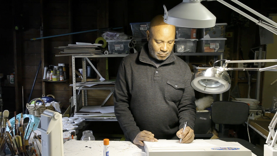 Emory Douglas in his studio in San Francisco, CA | Photo courtesy of Katrin Winkler