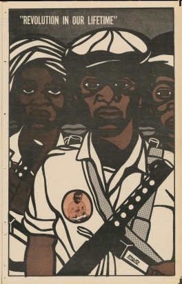 Emory Douglas. Poster from 'The Black Panther,' November 8, 1969, offset lithograph. | Image: Collection of Alden and Mary Kimbrough, Los Angeles, © Emory Douglas