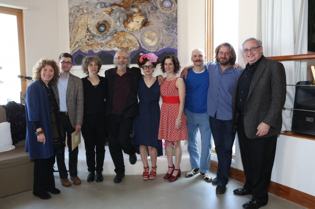 From left: Lani Hall Alpert, Alex Mincek, Sharon Hayes, Herb Alpert, Kelly Copper, Julia Rhoads, Pavol Liška, Lucien Castaing-Taylor and CalArts President Steven D. Lavine at The Herb Alpert Foundation on May 10. | Photo: Steven Gunther