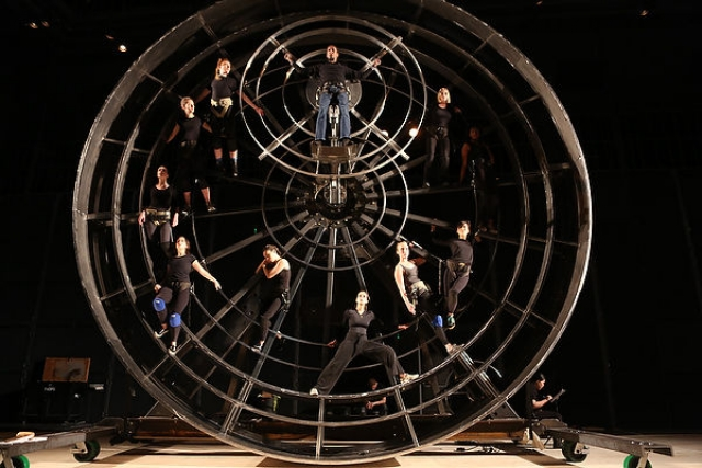 The wheel at a rehearsal of 'Prometheus Bound' at CalArts in June. | Photo: Steve Gunther