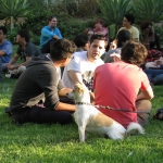 Students (and dog) at the President's Picnic, Sept. 12.