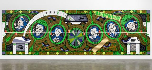 Lari Pittman. 'Flying Carpet with Magic Mirrors for a Distorted Nation,' cel-vinyl, spray enamel on canvas over wood panel, 108 in x 360 1/8 in, 2013. | Photo: Courtesy Regen Projects, Los Angeles. © Lari Pittman.