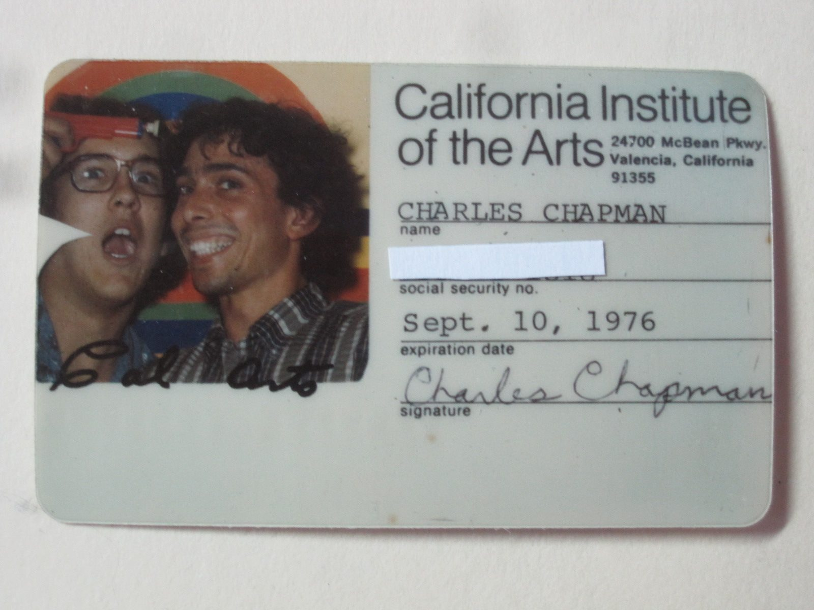 Chip Chapman's CalArts student ID. Chapman (left), artist Peter Cohen (right).