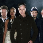 The band Fitz and the Tantrums was founded by two CalArts alumni: Michael Fitzpatrick, center, and James King (in hat). Other band members are (l-r): Jeremy Ruzumna,  Joseph Karnes, Noelle Scaggs and John Wicks.