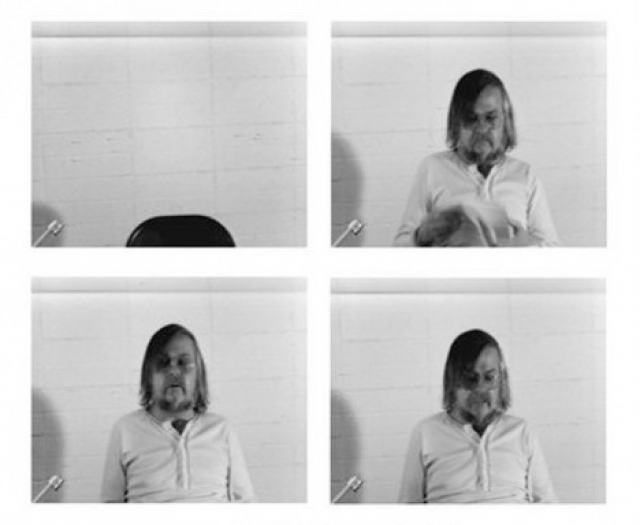 John Baldessari, Stills from 'Baldessari Sings LeWitt,' Black-and-white video, sound, 15 min, 1972. | Courtesy 2014 John Baldessari Studio/New Art Trust, San Francsico © John Baldessari.