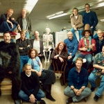 Alums in A113: (From left): Steve Hillenburg, Tim Burton, Brad Bird, Mark Andrews (in ape suit), Jerry Rees, Chris Buck ( Viking helmet), John Musker, Genndy Tartakovsky, Leslie Gorin, Mike Giaimo, Brenda Chapman, Glen Keane, Kirk Wise, Andrew Stanton, Pete Docter (with lei), Rob Minkoff, Rich Moore, John Lasseter and Henry Selick. | Photo by Annie Leibovitz, courtesy of 'Vanity Fair'