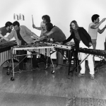 CalArts Percussion Ensemble in April 1979. Left to Right: Arthur Jarvinen, Leonice Shinemann, Jim Snodgrass, Bob Fernandez, Donna DeStefano and Christopher Garcia | Photo: Christopher Garcia, courtesy of Kathy Carbone, Institute Archivist.