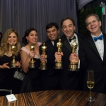 Oscar®-winners Jennifer Lee, Kristen Anderson-Lopez, Robert Lopez, Peter Del Vecho and CalArts alum Chris Buck at the Oscar engraving station | Photo: Greg Harbaugh / ©A.M.P.A.S.