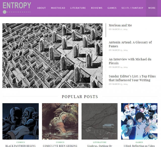 The homepage of Entropy Magazine.