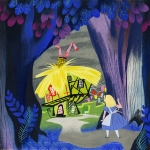 Mary Blair, 'Concept of Alice looking at the White Rabbit's house,' gouache, 10.94 in x 11 in x 0.06 in, ca. 1951. | Courtesy of Pam Burns-Clair Family.