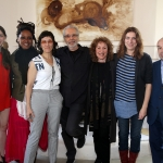 At the 2014 Herb Alpert Award for the Arts luncheon: Michelle Dorrance, Matana Roberts, Deborah Stratman, Herb Alpert, Lani Hall Alpert, Annie Dorsen and Daniel Joseph Martinez.