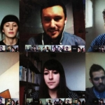 CalArts alumnus Manuel Shvartzberg (bottom left) with the OfficeUS Architectural Partners on a Google Hangout.