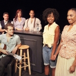 Warren Davis (as Schoolch), Patrick Cragin (as Boy), Heidi James (as Madame), Joshua Wolf Coleman (as Logger), Bianca Lemaire (as Bulrusher), and Chauntae Pink (as Vera) star in Eisa Davis' Bulrusher. | Photo: Ed Kreiger.
