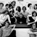 The 1976 CalArts Character Animation class, with faculty member Elmer Plummer (center) | Photo: Harry Sabin