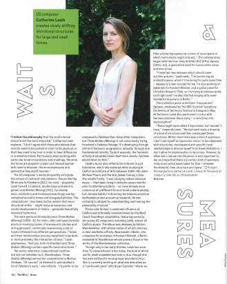Composer Cat Lamb was profiled in the September edition of 'The Wire' #367.
