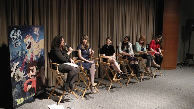 On March 18, Disney TV Animation and Women in Animation teamed up for a screening and panel for Disney XD's 'Star vs. The Forces of Evil,' with (l-r), Malina Saval of 'Variety'; Daron Nefcy, creator and executive producer; actor Eden Sher; Lisa Salamone, SVP, Production, Disney Television; Brooke Keesling, director, Animation Talent Development and Maija Burnett, director of CalArts Character Animation Program. | Photo: Disney XD/Rick Rowell