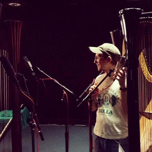 David Paha sets up microphones to record pieces for Susie Allen's new album   Photo: Susie Allen