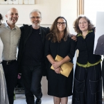 At the Herb Alpert Award in the Arts luncheon on May 1, from left: Maria Hassabi, Taylor Mac, Herb Alpert, Sharon Lockhart, Julia Wolfe and Tania Bruguera,  who was unable to attend as she  was detained in Cuba.