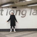 Sheila Levrant de Bretteville with her A Train public art project in New York City. | Photo courtesy the artist