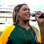 Breanna Sinclairé sings the national anthem at the Oakland A's baseball game on June 17.
