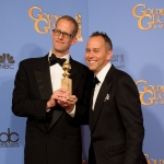 "For Best Animated Feature Film, the Golden Globe is awarded to ""Inside Out,"" directed by Pete Docter and Ronnie Del Carmen. Pete Docter and Jonas Rivera pose with the award backstage in the press room at the 73rd Annual Golden Globe Awards at the Beverly Hilton in Beverly Hills, CA on Sunday, January 10, 2016. 