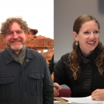 Brian Evenson (left) and Maggie Nelson (right) are in conversation at Skylight Books.