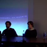 LaBeouf, Rönkkö & Turner lectured at CalArts earlier this month. | Image: Lecture screenshot