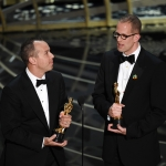 Producer Jonas Rivera (L) and director Pete Docter accept the Best Animated Feature Film award for 'Inside Out' onstage during the 88th Annual Academy Awards at the Dolby Theatre on February 28, 2016 in Hollywood, California. | Photo by Kevin Winter/Getty Images
