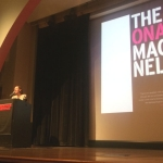 Maggie Nelson, CalArts faculty, accepts her National Book Critics Circle Award on March 17. | Photo: Marya Spence