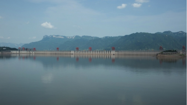 The Three Gorges Dam viewed from the city of Zigui, just upriver from the dam site. Summer 2015. | Photo: John Alexander