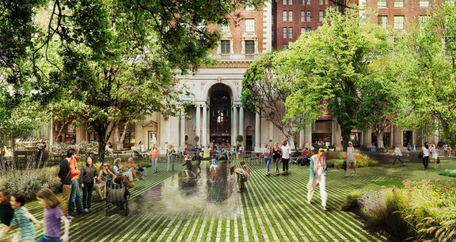 """PSQ2- A depiction of the perspective gardens from Agence Ter & Team's proposal, """"The Dynamic Heart of Los Angeles."""""""