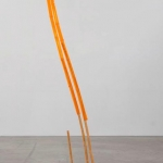 Shirley Tse Bamboo Extension, glass, plastic, bamboo, 90 in. x 17 in. x 7 in., 2016. | Image courtesy of Shoshana Wayne Gallery