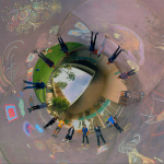 360° photo of class members standing around their chromostereoscopic 3D sidewalk chalk drawings. | Photo: Michael Scroggins