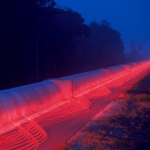 Time-exposure representation of the LIGO Interferometer in Livingston, Louisiana | Image courtesy Pasadena Arts Council