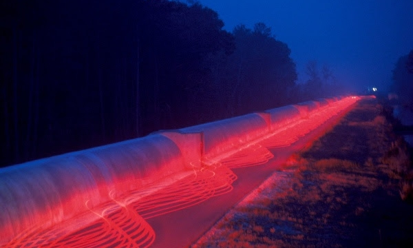 Time-exposure representation of the LIGO Interferometer in Livingston, Louisiana | Image courtesy Pasadena Arts Council