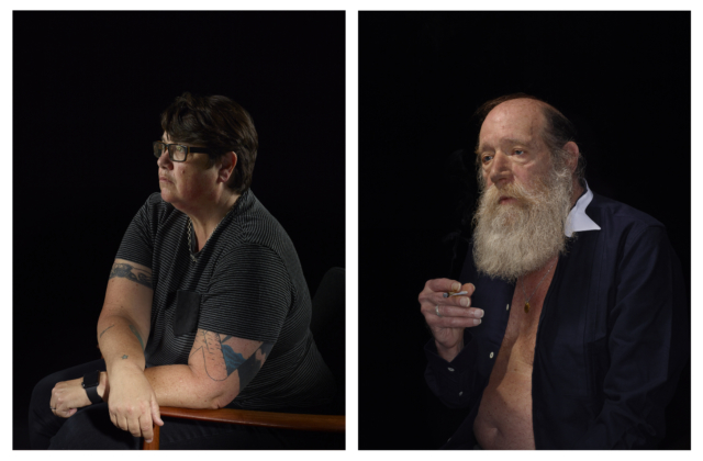 Portraits of artists Catherine Opie and Lawrence Weiner, each against black background