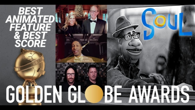 """Collage of images. Left: Image of Golden Globe Award below the text """"Best Animated Feature & Best Score."""" Middle: Images of award recipients Dana Murray, Pete Docter, Jon Batiste, Atticus Ross, and Trent Reznor. Right: Still of Joe Gardner from Soul."""